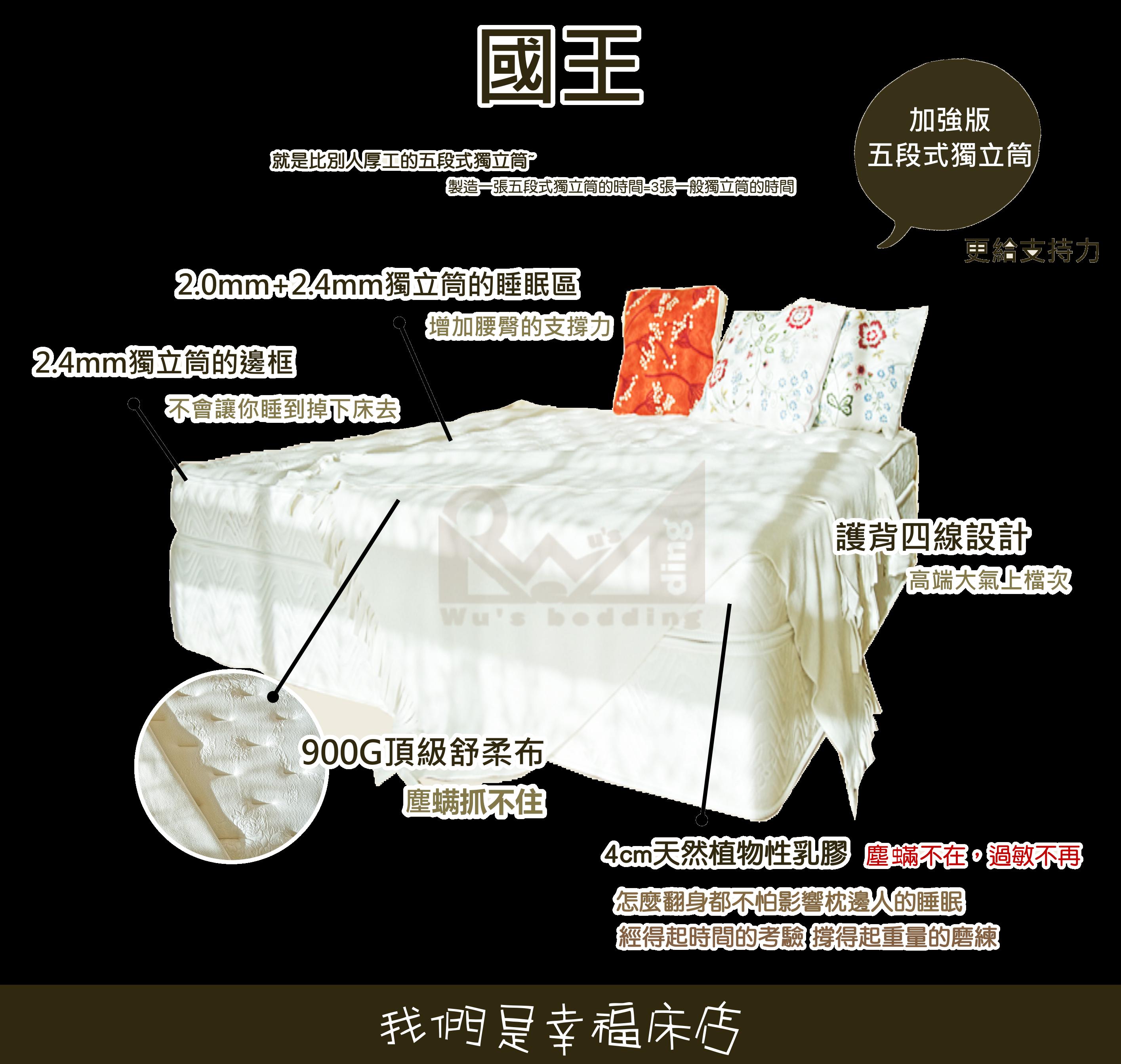 展品-獨立筒床墊-國王 送純棉保潔墊 (加大雙人6*6.2)