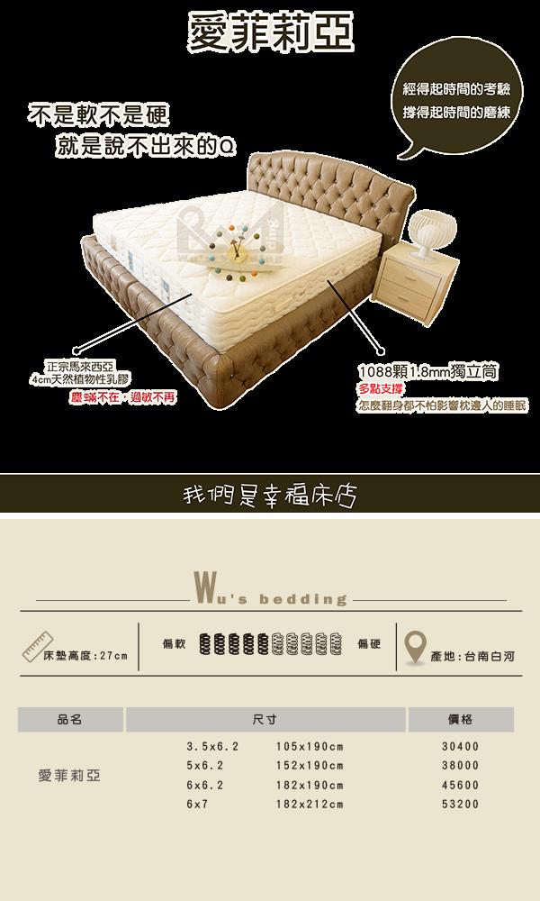 展品-獨立筒床墊-愛菲莉亞 送純棉保潔墊 (標準雙人/加大雙人)