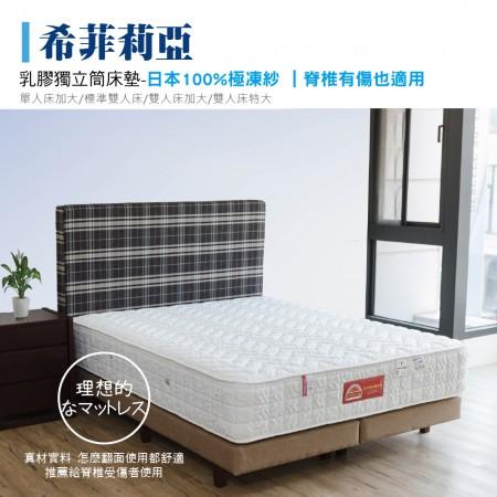 乳膠獨立筒床墊-極凍紗|希菲莉亞-脊椎有傷也適用 (標準雙人床墊)